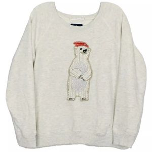 American Eagle Outfitter Bear Embroidered Pullover